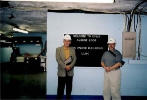 "LLMC Board member Richard Amelung of St. Louis University School of Law, with Jerry Dupont at the ""Salt Mine"" near Hutchinson, Kansas, the dark archive facility for permanent storage of already-scanned disbound materials."