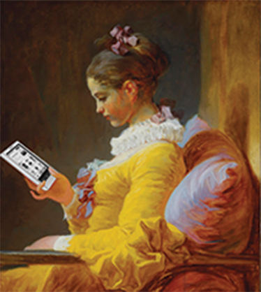 A 21-st century version of Jean-Honoré Frangonard's Young Girl Reading.