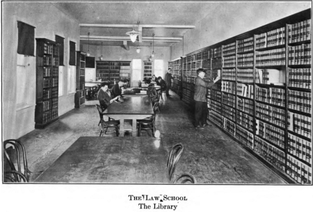 At 1435 K Street: The Law Library, pictured circa 1920, was located on the second floor of the Old Justice Department Building.