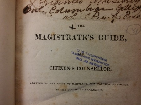 "The title page of John Colvin's The Magistrate's Guide, and Citizen's Counsellor (George Town, D.C., 1819), with owner's signature cut away, showing the ""Rev. L. Rice"" donative inscription on the second leaf."