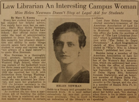 Young Helen: a rare photograph of Helen Catherine Newman as a young librarian from the December 18, 1934, issue of The GW Hatchet.