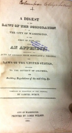 The title page of Samuel Burch's Digest of the Laws of the City of Washington (1823), from the Columbian College Library.