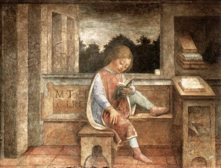 "Cicero: ""When the cannons roar, the law falls silent.""  Here, The Young Cicero Reading.  Fresco, c. 1464.  Wallace Collection, London."