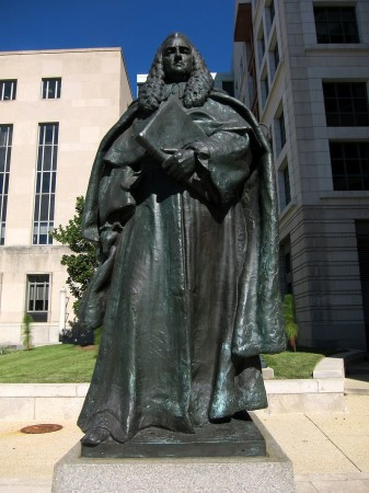 Outside the E. Barrett Prettyman United States Courthouse (Washington, DC): Sir William Blackstone, in bronze, by sculptor Paul Wayland Bartlett (1920).