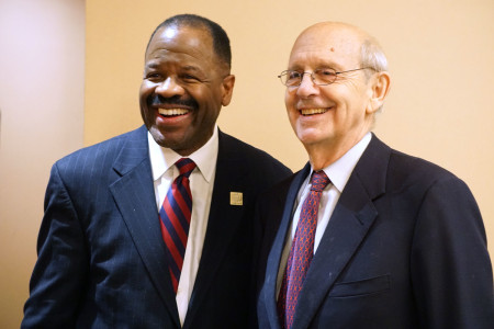 GW Law Dean Blake Morant, then President of the Association of American Law Schools, with U.S. Supreme Court Justice Stephen Breyer at the AALS annual meeting (2016).