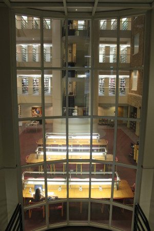 Reading Room and stacks through the glass stairwell