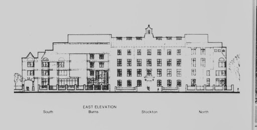Drawings of the northeast and east elevations, respectively, of the Law School complex during the expansion project of the early 1980s.