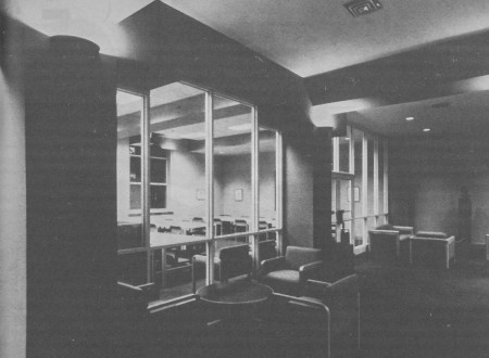 The glassed-in smoking lounge overlooked 20th Street from the second floor of the Stockton Hall portion of the Law Library.  Eventually this space was subsumed by the corridor which now traverses the Law School complex, completed as part of the 2004 construction project.