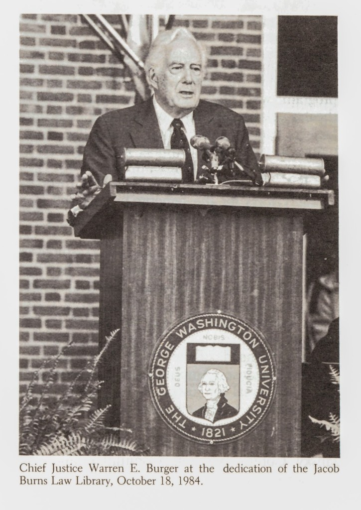 U.S. Supreme Court Chief Justice Warren E. Burger addresses attendees at the 1984 dedication of the Jacob Burns Law Library.