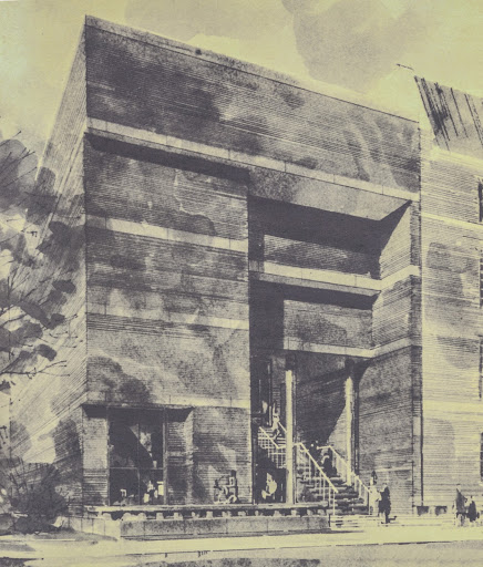 Architect's rendering of the Law Library-to-be, as it appeared on the cover of the Dean's Report (1964-1965).