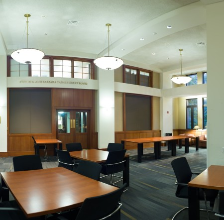 The Tasher Great Room, a sanctuary for quiet study and a popular venue for Law School events.
