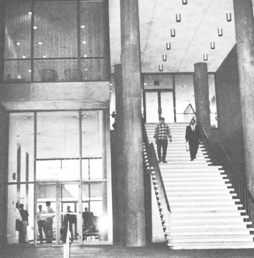 Now extinct, the famous exterior staircase to the second floor of the Law Library provided an additional access point immediately to the north of the main library entrance (1967).