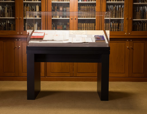 The Rare Book Room display case on the first floor of the Law Library