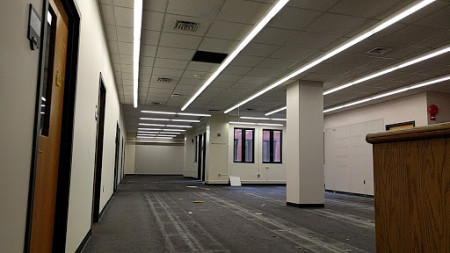 Pre-renovation for the Burns Commons project on Lower Level One (2017).