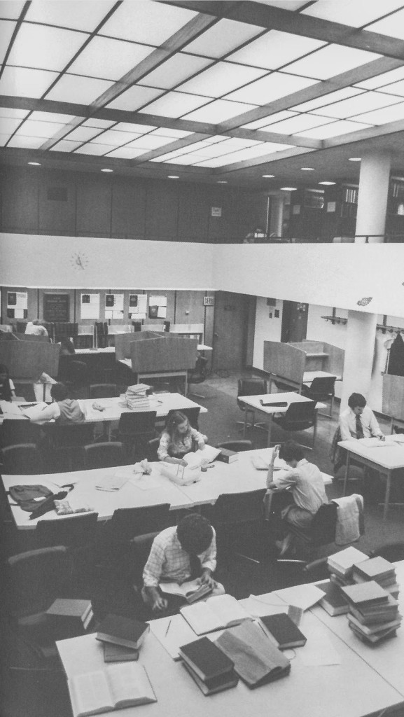 The first floor reading room and mezzanine, where the regional reporters were shelved (1978).
