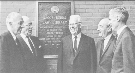 GW President Lloyd Elliott, the Honorable Sterry R. Waterman, former Chief Justice Earl Warren, alumnus Jacob Burns, '24, and GW Law Dean Robert Kramer at the dedication for the new Jacob Burns Law Library (1967).  Judge Waterman, of the U.S. Court of Appeals for the Second Circuit, had studied at GW Law.