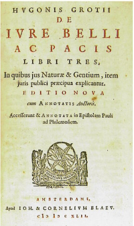 """In his masterwork, De Jure Belli Ac Pacis (Amsterdam, 1642), Hugo Grotius proposed duelling to resolve international conflicts.  Designated fighters (""""champions"""") would duel; the outcome would determine the victor, and save the lives of the many soldiers who would have died in battle."""